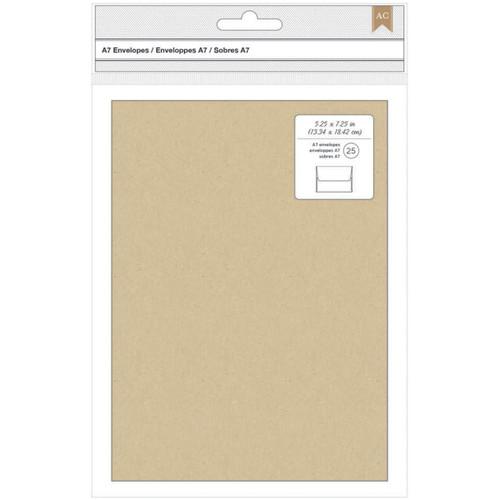 "American Crafts A7 Envelopes (5.25""X7.25"") 25/Pkg-Kraft -368591"
