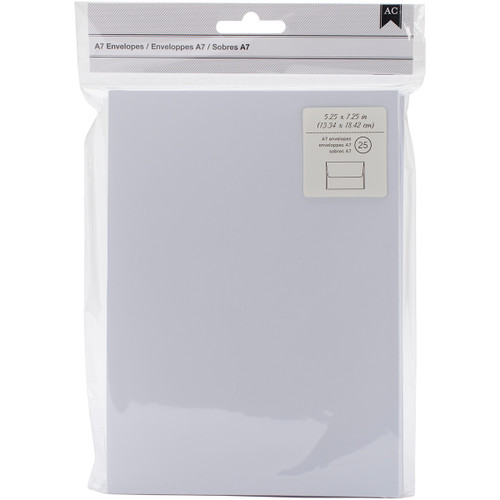 "American Crafts A7 Envelopes (5.25""X7.25"") 25/Pkg-White -368590 - 718813685900"