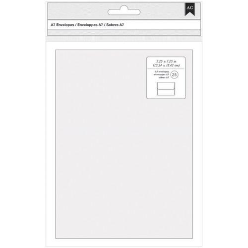"American Crafts A7 Envelopes (5.25""X7.25"") 25/Pkg-White -368590"
