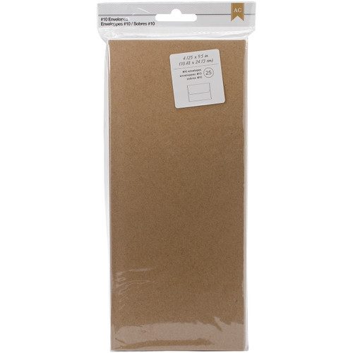 "American Crafts #10 Envelopes (4.125""X9.5"") 25/Pkg-Kraft -368589 - 718813685894"