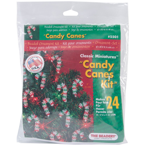 """Holiday Beaded Ornament Kit-Mini Candy Canes 2"""" Makes 24 -BOK-5501 - 045155887991"""