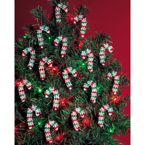 """Holiday Beaded Ornament Kit-Mini Candy Canes 2"""" Makes 24 -BOK-5501"""