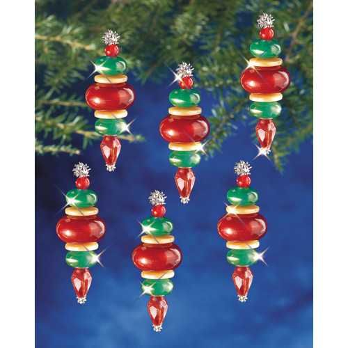 """Holiday Beaded Ornament Kit-Victorian Baubles 2.25""""X.75"""" Makes 12 -BOK-5941"""