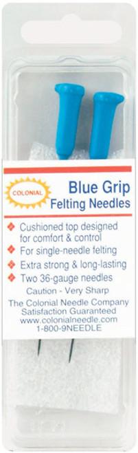 Colonial Blue Grip Felting Needles 2/Pkg-Size 36 -CNFN36BG - 091955012392