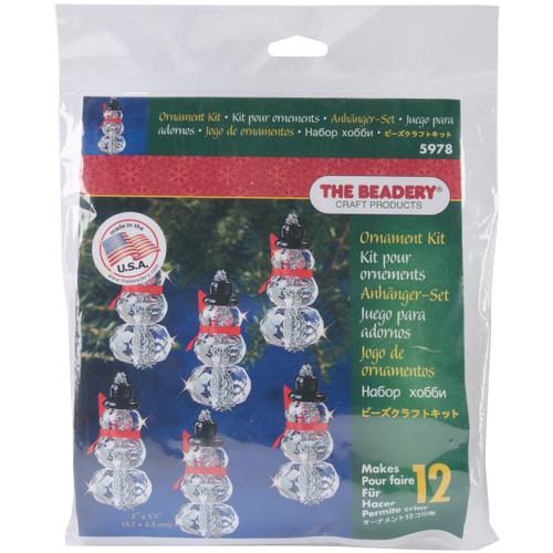 "Holiday Beaded Ornament Kit-Faceted Elegant Snowmen 2""X1"" Makes 12 -BOK-5978 - 045155917490"