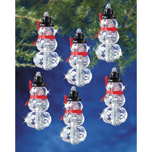 "Holiday Beaded Ornament Kit-Faceted Elegant Snowmen 2""X1"" Makes 12 -BOK-5978"