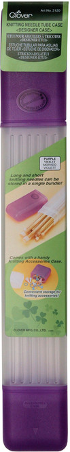 "Clover Knitting Needle Tube Case-16""X2.25""X1.5"" Purple -3120 - 051221356780"