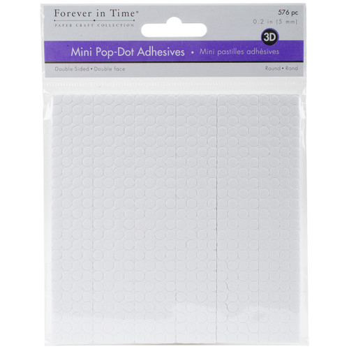 """MultiCraft 3D Pop Dots Dual-Adhesive Micro Foam Adhesives-White Round, .2"""" 576/Pkg -PD101 - 775749205305"""