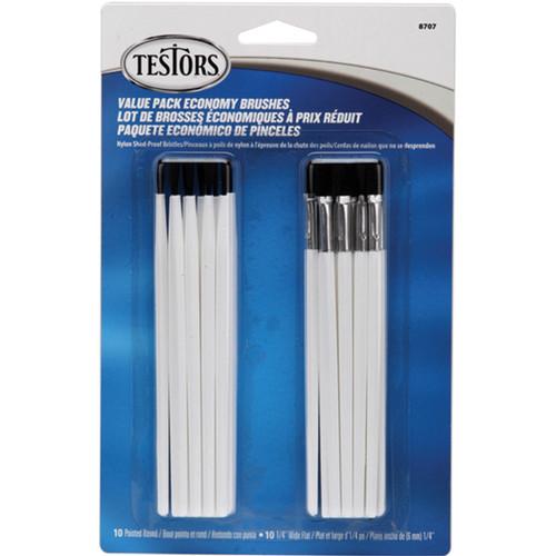Testors Economy Paintbrushes 20/Pkg-10 Round & 10 Flat -8707 - 075611870700