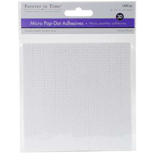 """MultiCraft 3D Pop Dots Dual-Adhesive Micro Foam Adhesives-White Round, .12"""" 1600/Pkg -PD100 - 775749205299"""