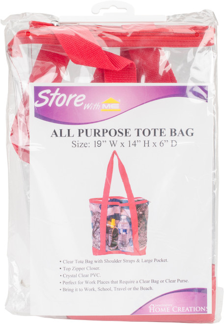 """Innovative Home Creations All-Purpose Clear Tote Bag-Red 19""""X14""""X6"""" -I1560 - 039676156001"""