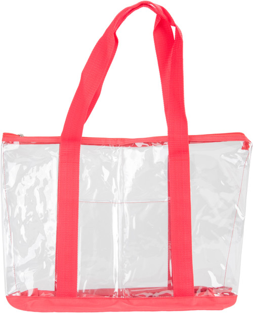 """Innovative Home Creations All-Purpose Clear Tote Bag-Red 19""""X14""""X6"""" -I1560"""