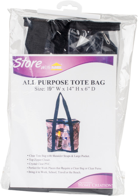 """Innovative Home Creations All-Purpose Clear Tote Bag-Black 19""""X14""""X6"""" -I1570 - 039676157008"""