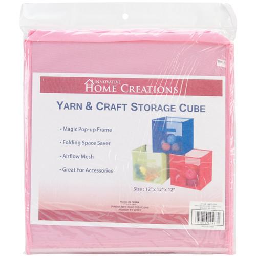 "Innovative Home Creations Yarn & Craft Storage Cube -Pink 12""X12""X12"" -4870-PINK - 039676204870"