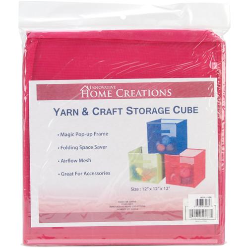 """Innovative Home Creations Yarn & Craft Storage Cube -Fuchsia 12""""X12""""X12"""" -4870-FUCH - 039676304846"""