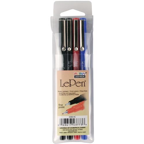 Le Pen .03mm Point 4/Pkg-Basic -4300-4C - 028617437736