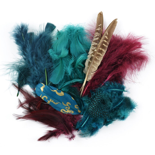 Packaged Feathers 7g-Teal, Wood & Jasper -MD38992