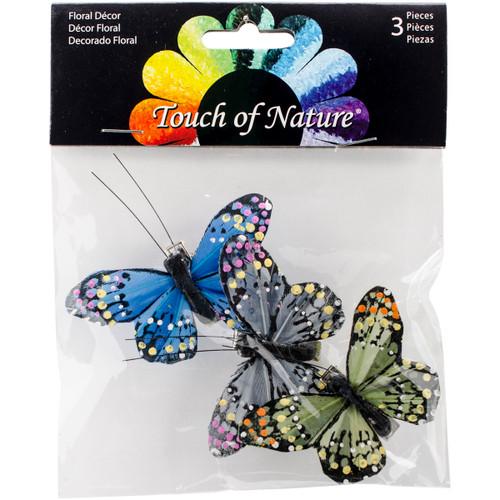 """Butterflies W/Clips 2.5"""" 3/Pkg-Blue, Olive & Gray -MD24395 - 684653243955"""