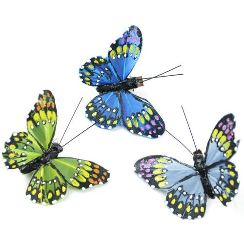 """Butterflies W/Clips 2.5"""" 3/Pkg-Blue, Olive & Gray -MD24395"""