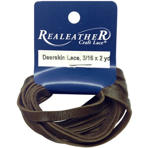 """Realeather Crafts Deerskin Lace .1875""""X2yd Packaged-Chocolate -DOS31602-0207 - 870192003116"""