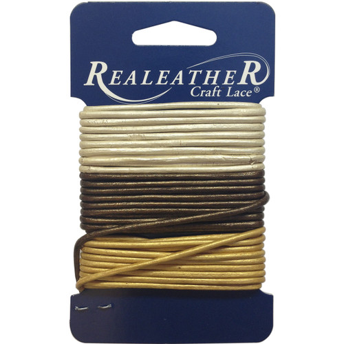 Realeather Crafts Round Leather Lace 2mmX9yd Carded-Gold, Silver & Bronze -RLC00802 - 870192006421