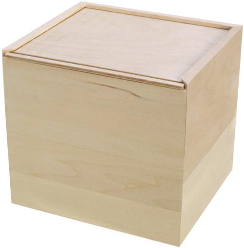 """Walnut Hollow Basswood Card Keeper Box W/Sliding Lid-6""""X6.5""""X5.71"""" -38365"""