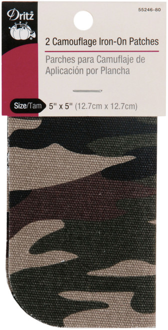 """Dritz Iron-On Camouflage Patches 5""""X5"""" 2/Pkg-Green -55246-80 - 072879267129"""