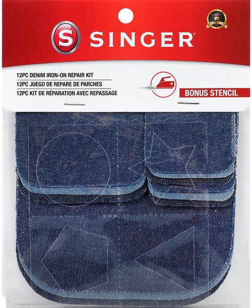 Singer Iron-On Patch Repair Kit 12/Pkg-Assorted Denim -00079 - 075691000790