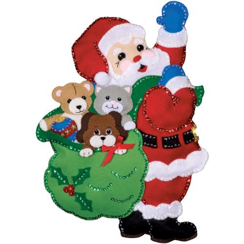 "Design Works Felt Wall Hanging Applique Kit 13""X18""-Santa & Friends -DW5184 - 021465051840"