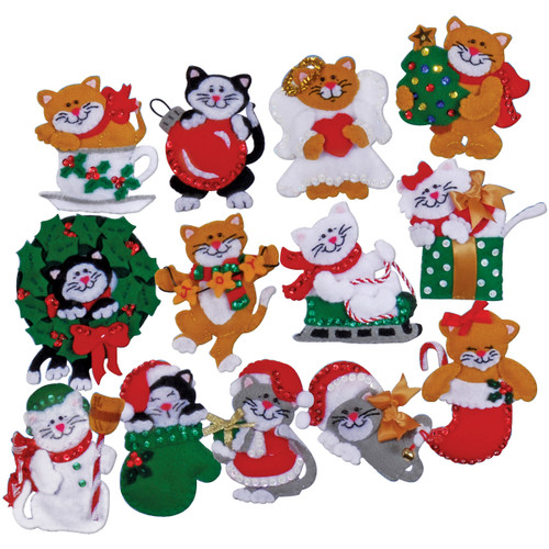 "Design Works Felt Ornament Applique Kit 3""X4"" Set Of 13-Lots Of Kittens -DW5396 - 021465053967"