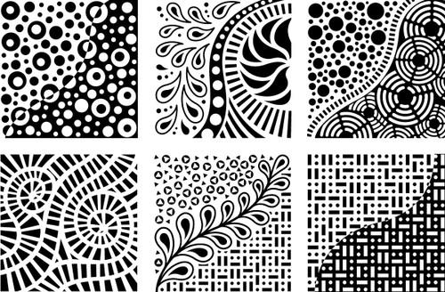 """Artist's Paintstiks Rubbing Plates 7.125""""X7.125"""" 6/Pkg-Doodles -CCT4007"""