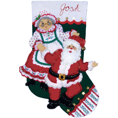 "Design Works Felt Stocking Applique Kit 18"" Long-Dancing Claus -DW5088 - 021465050881"