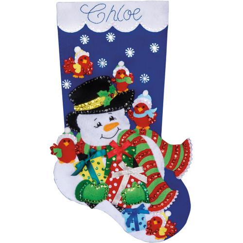 """Design Works Felt Stocking Applique Kit 18"""" Long-Snowman & Cardinals -DW5231 - 021465052311"""