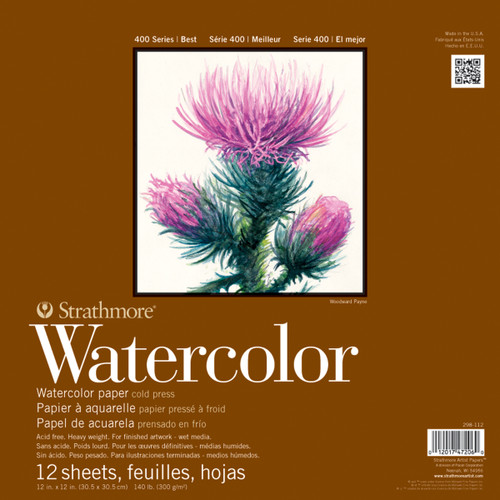 """Strathmore Watercolor Paper Pad 12""""X12""""-12 Sheets -298112 - 012017472060"""