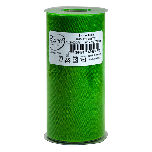 """Expo Shiny Tulle 6""""X24yd Spool-Green -TL2402-GR - 730484690939"""