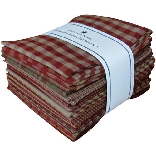 "Dunroven Homespun 18""X21"" Fat Quarters 12pcs-Red -H100-300 - 875025000782"