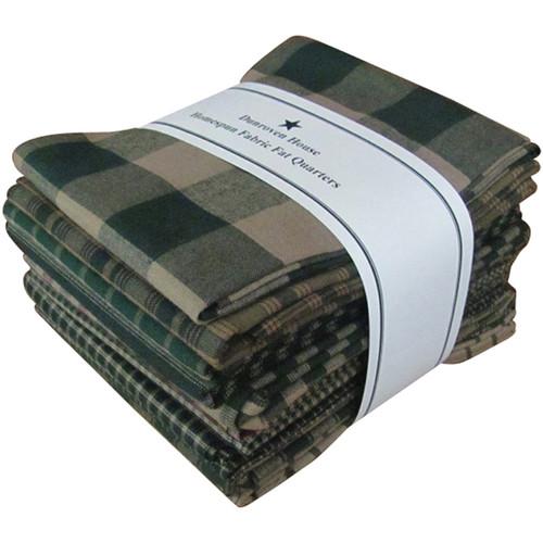 "Dunroven Homespun 18""X21"" Fat Quarters 12pcs-Green -H100-400 - 875025000799"