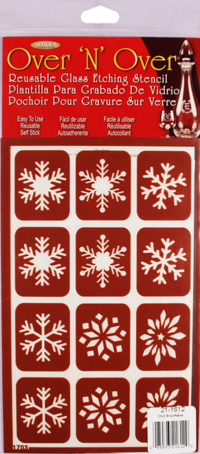 """Over 'N' Over Reusable Stencils 5""""X8""""-Snowflakes -GE21-1612 - 085593216120"""