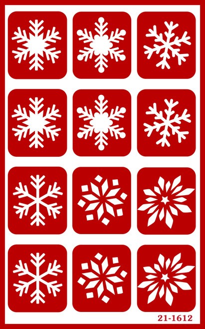 """Over 'N' Over Reusable Stencils 5""""X8""""-Snowflakes -GE21-1612"""