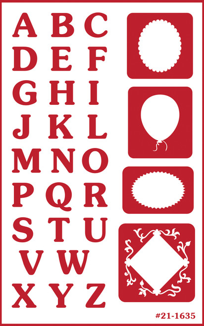 """Over 'N' Over Reusable Stencils 5""""X8""""-Reverse Letters -GE21-1635"""