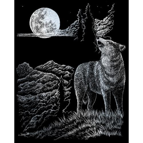"Silver Foil Engraving Art Kit 8""X10""-Wolf Moon -SILVFL-33"