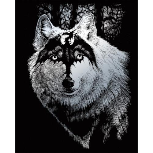 """Silver Foil Engraving Art Kit 8""""X10""""-Dragon Wolf -SILVFL-28"""