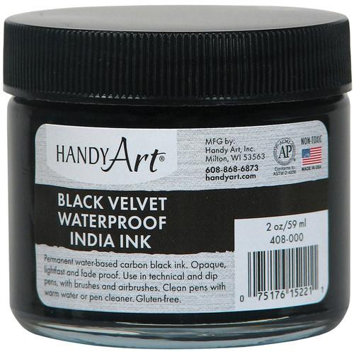 Handy Art Black Velvet India Ink 2oz Glass Jar-408-000 - 075176152211