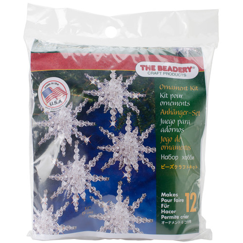 """Holiday Beaded Ornament Kit-Snow Clusters 3.5"""" Makes 12 -BOK-7282 - 045155886864"""