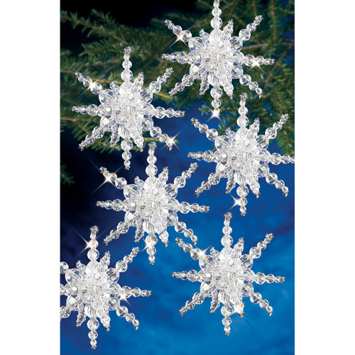 """Holiday Beaded Ornament Kit-Snow Clusters 3.5"""" Makes 12 -BOK-7282"""