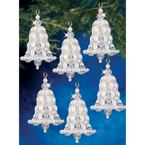 "Holiday Beaded Ornament Kit-Crystal & Pearl Bells 2.75"" Makes 6 -BOK-7283"