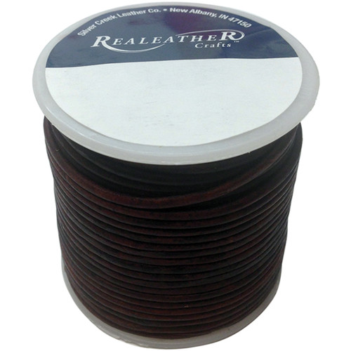 Realeather Crafts Round Leather Lace 2mmX25yd Spool-Mahogany -RL2520-0403 - 870192009057