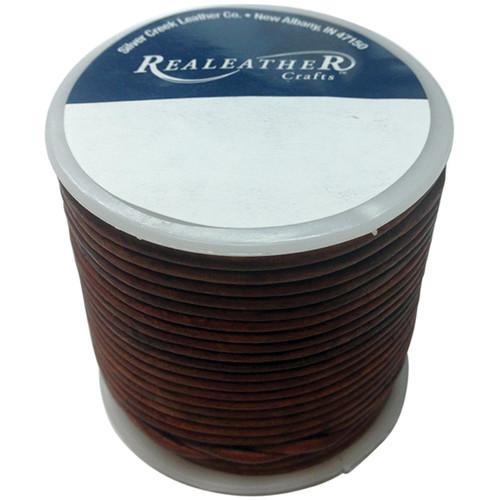 Realeather Crafts Round Leather Lace 2mmX25yd Spool-Cedar -RL2520-0409 - 870192009040