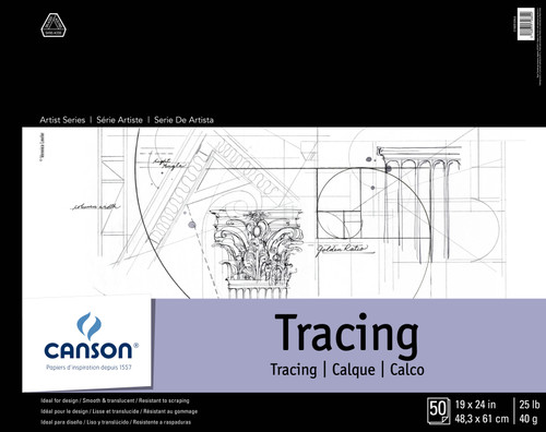 """Canson Artist Series Tracing Paper Pad 19""""X24""""-50 Sheets -702324 - 0306740330803148955726822"""