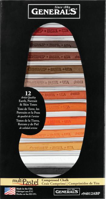 MultiPastel Compressed Chalk Sticks 12/Pkg-Earth, Portrait & Skin Tones -94012ABP - 044974940122